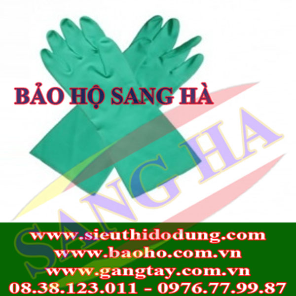 Găng tay cao su chống hóa chất Malaysia mầu xanh L2