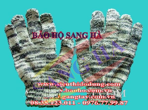 Găng tay len màu viền xanh GTLM