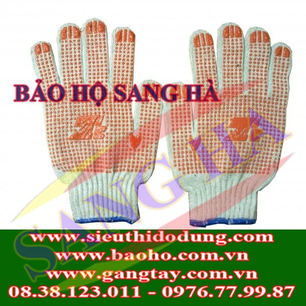 Găng tay len phủ hạt nhựa chống trơn 80g