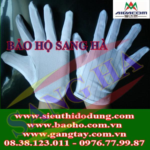 Găng tay polyester chống tĩnh điện có nốt sần
