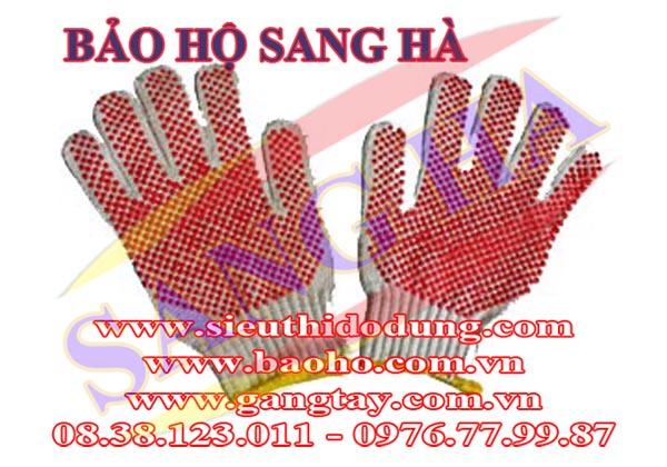 Găng tay len bảo hộ hạt nhựa TA016