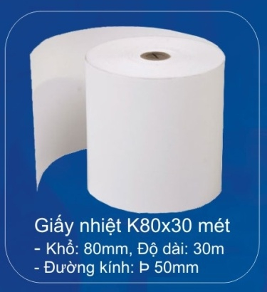 Giấy in nhiệt (thermal paper) K80 - 50m
