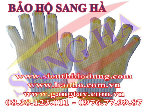 Găng tay len phủ hạt nhựa vàng 70g